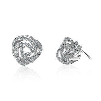 Everoyal Vintage Cubic Zirconia Rose Stud Earrings For Women Accessories Female Fashion Silver 925 Jewelry Girls