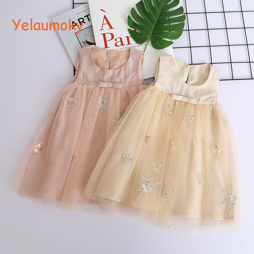 Sleeveless Princess summer sequined bling ball gowns birthday party dress Girls wedding tulles tank dress kids cloth[Yelaumoky]