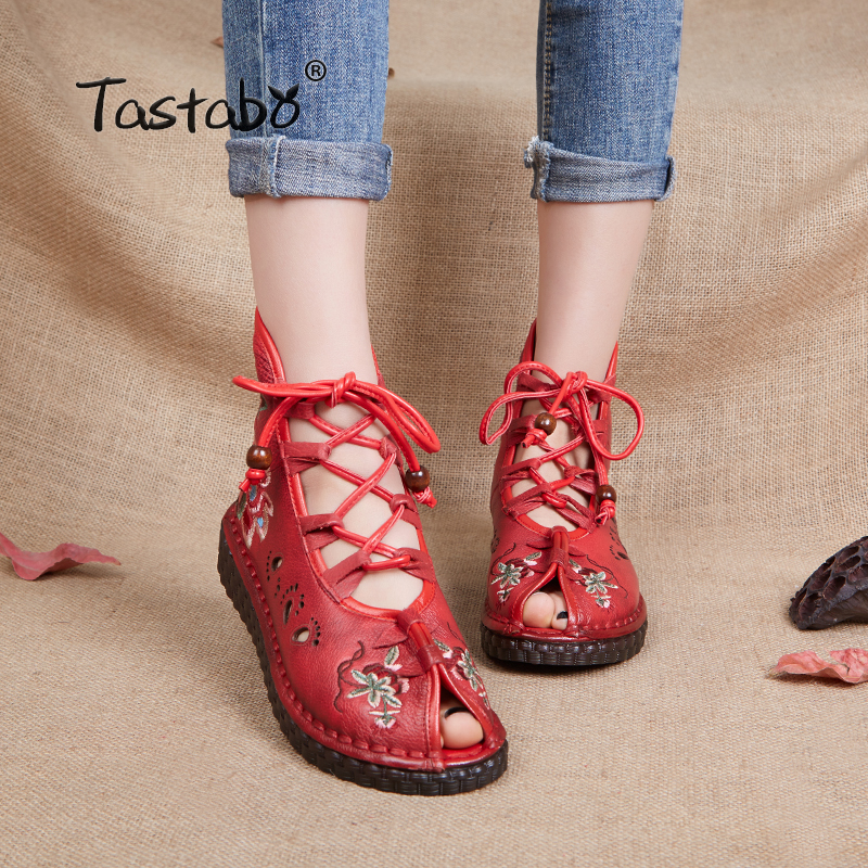 Tastabo Women Retro Casual Handmade Ankle Boots Flat Genuine Leather Women Shoes Breathable Comfortable foot Openwork