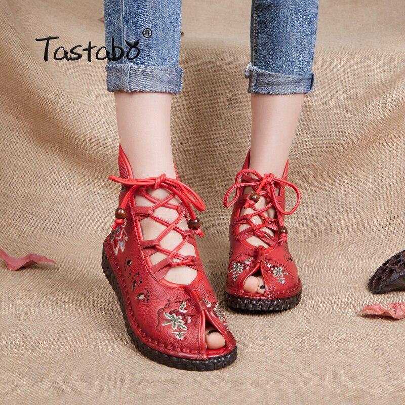 Tastabo 여성 레트로 캐주얼 수제 발목 부츠 플랫 정품 가죽 여성 신발 통기성 편안한 발 openwork 패턴-에서앵클 부츠부터 신발 의  그룹 1
