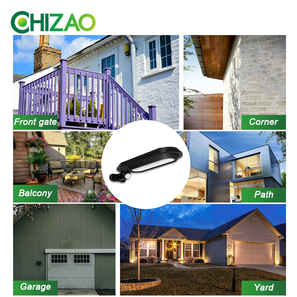 CHIZAO Eco Friendly and Wall Mounted Outdoor Solar Charge Motion Sensor LED with 600 Lumens 5