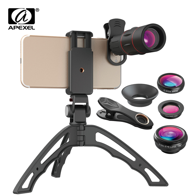 APEXEL 18X Telescope Mobile Phone Lens Monocular lens with 3 in 1 fisheye wide macro lens+mini tripod for iPhone other cellphone