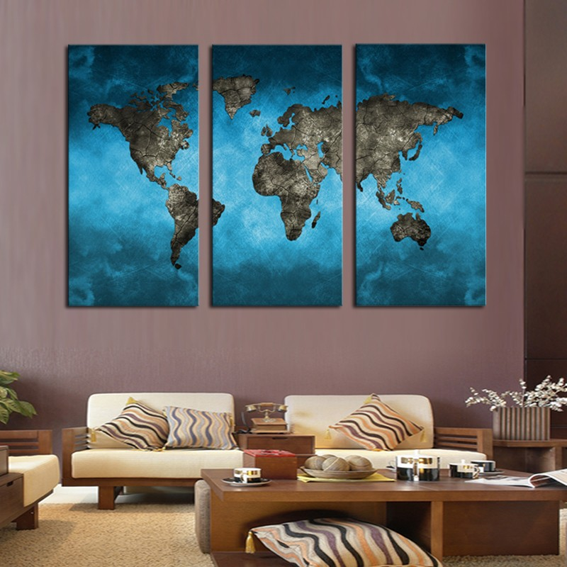 3 Panel Abstract Navy Blue World Map Canvas Painting Modern Wall Pictures For Home Office Living Room Decor Drop shipping