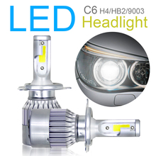 цена на 2pcs H4 HB2 9003 C6 10800LM 6000K 120W COB LED Car Headlight Kit Hi Lo Turbo Light Bulbs Car accessories for Cars Vehicle Auto
