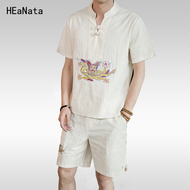 Casual Slim Hip Hop Short-Sleeved Shorts Cotton Set Mens Chinese Wind Linen Large Code Embroidery Dragon T Shirt Set Men 5XL