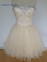 2017 Homecoming Dresses Hot Sales Sexy Sparkly Crystals Lace Short Prom Gowns Graduation Dresses
