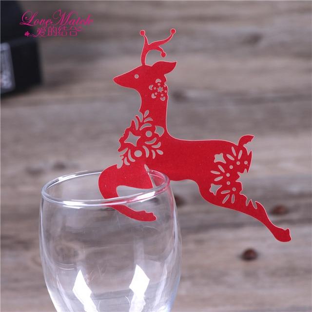 50pcs Laser Cut Deer Design Wedding Cup Card Wedding Favors And