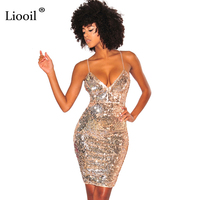 Liooil Sexy Spaghetti Strap Sequin Dress Sleeveless Deep V Neck Backless Bodycon Split Black Gold Silver