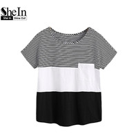 SheIn Patch Pocket Front Cut And Sew T Shirt Black And White Womens T Shirts Short
