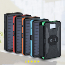 Qi Wireless Charger 20000mAh LED Solar Power Bank Waterproof Portable Panel External Battery