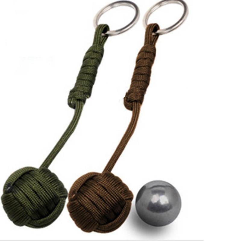 Security Protection Black Monkey Fist Steel Ball Bearing Self Defense Lanyard Survival Key Chain