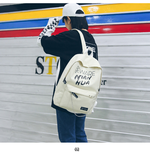 Image 5 - Trend Women Backpack Korea Style Female College Students Back Pack Large Capacity Letter Pattern Printing Girls Knapsack