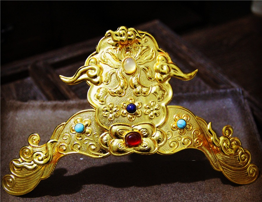 LYZ Duo Bao Traditional Hand Carving Copper Hair Tiara Phoenix Hair Sticks Hanfu Jewelry Soft YingLuo Vintage Necklace