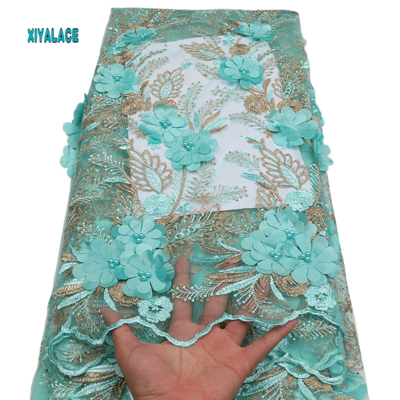 Cyan Nigerian African Lace Fabric High Quality Lace 3D Flowers Tullle Lace Fabric French Beads Lace Fabric Party Beads YA1749B-9