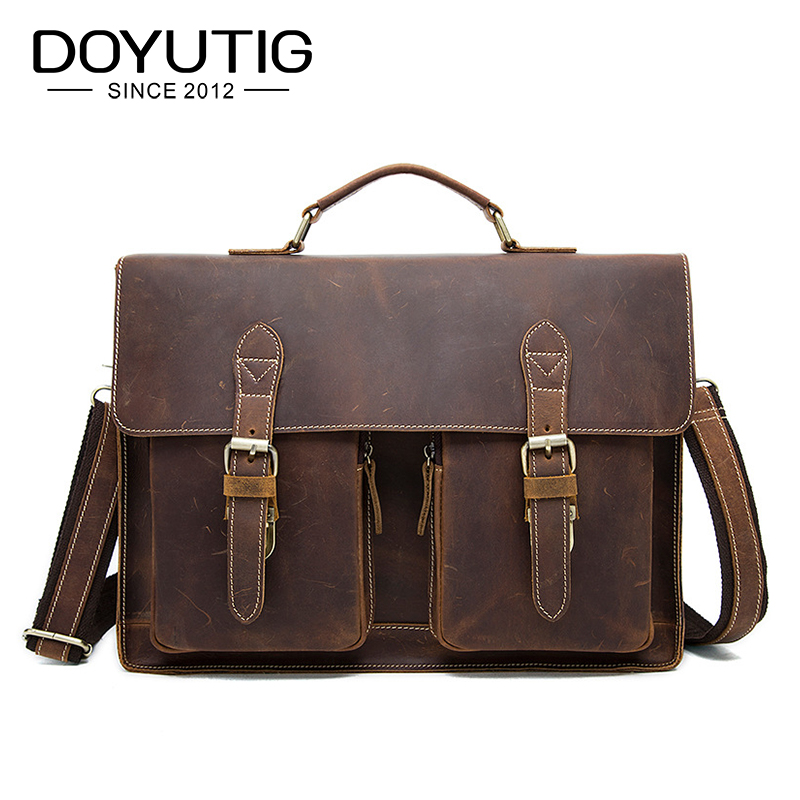 DOYUTIG European Design Men's Real Cow Leather Business Briefcases 15 Inches Genunie Leather Male Messenger Computer Bags G129