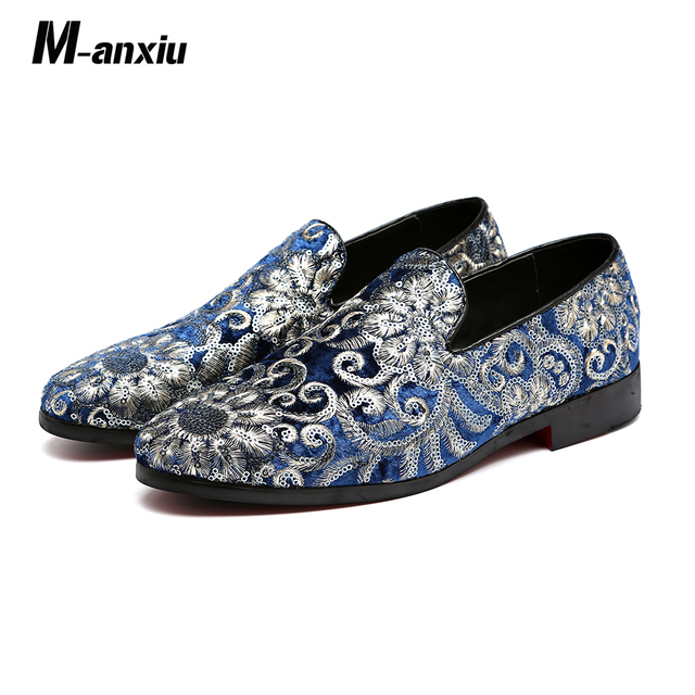 M-anxiu Men Fashion Embroidery Business Shoes Doug Suede Leather Pointed Toe  Classic Wedding Slip-On Penny Casual Flat Shoes e2d3ec5dc3a7