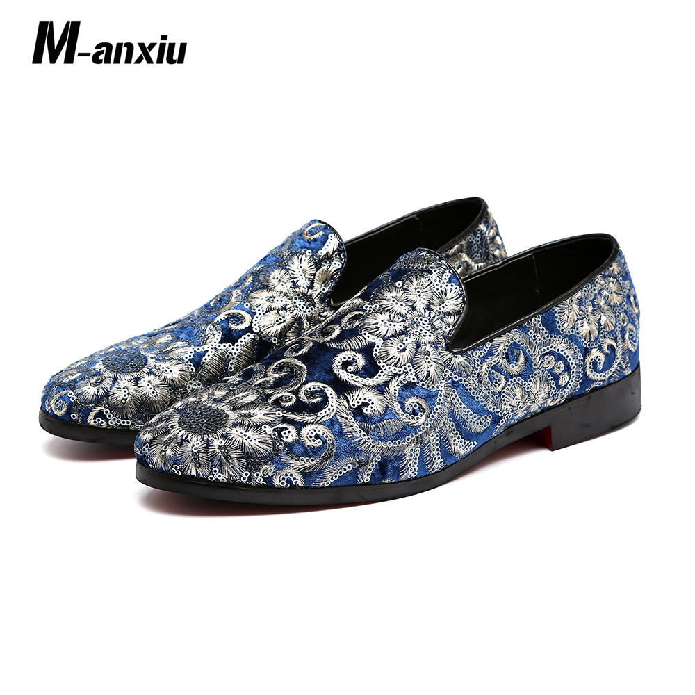 M-anxiu Men Fashion Embroidery Business Shoes Doug   Suede     Leather   Pointed Toe Classic Wedding Slip-On Penny Casual Flat Shoes