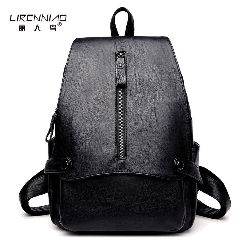 LIRENNIAO Women Rivets Sac A Main Leather Backpacks Fashion Black School Bags For Teenagers Girl Backapck Mochilas Mujer Bagpack
