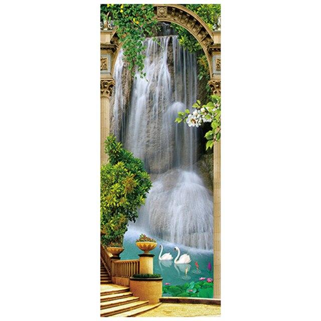 Us 14 68 30 Off 77 200 Cm Park Wasserfall Tur Aufkleber Klar Wasser Lotus Teich Landschaft 3d Wand Kunst Vinyl Wandbild Dekoration Landschaft Tapete