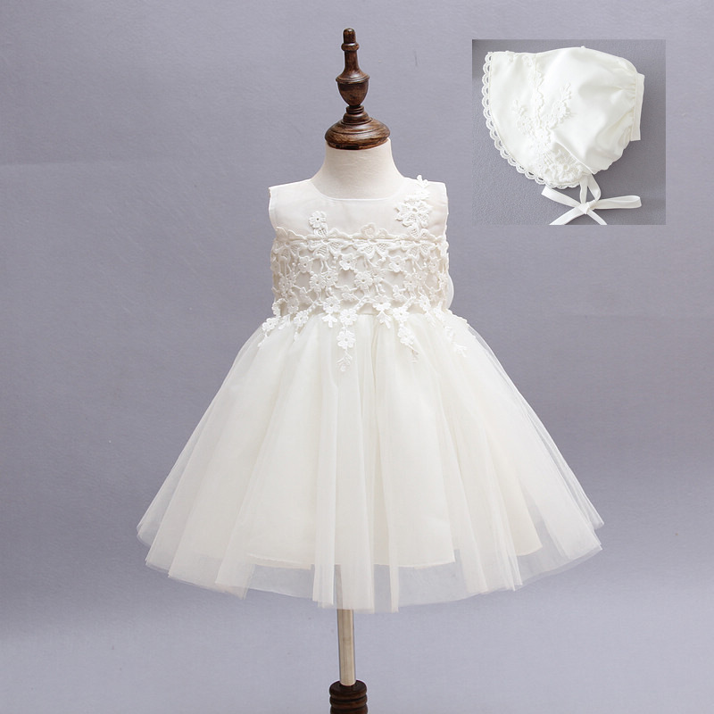 high-grade lace white flower girls dresses bow princess evening tutu dress for 1 year birthday baby tulle girl baptism dress high grade princess wedding dress europe and america flower girl dress for girls white for 0 12 yesrs