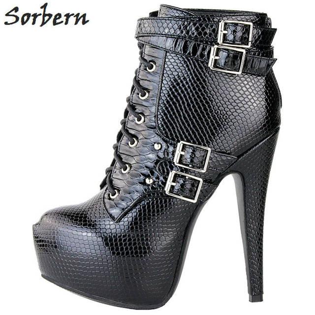 Sorbern Ankle Boots For Women Platform Boot 2018 Ladies Party Shoes Boots Bottines Femme Talon Haut Size 34-48 Size 45 Women