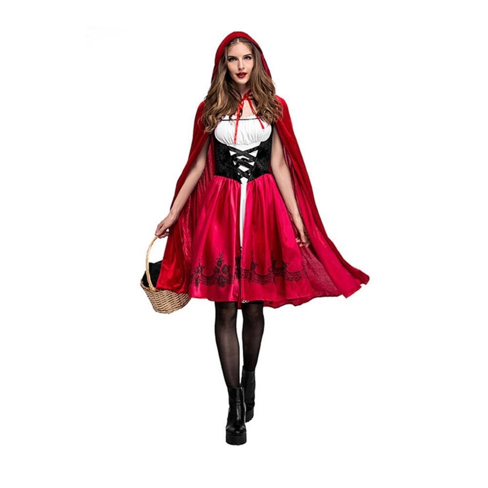 Européen et américain Halloween petit chaperon rouge Costume adulte Cosplay robe de soirée DS discothèque reine Sexy habiller
