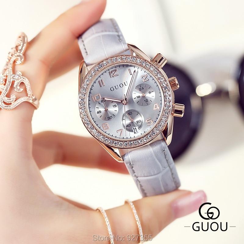 2017 New GUOU Luxury Brand Ladies Watch Fashion Women Leather Strap Bracelet Rhinestone Crystal Diamond Quartz-watch Clock amica luxury crystal diamond blue shell dial womens quartz watch ladies watch