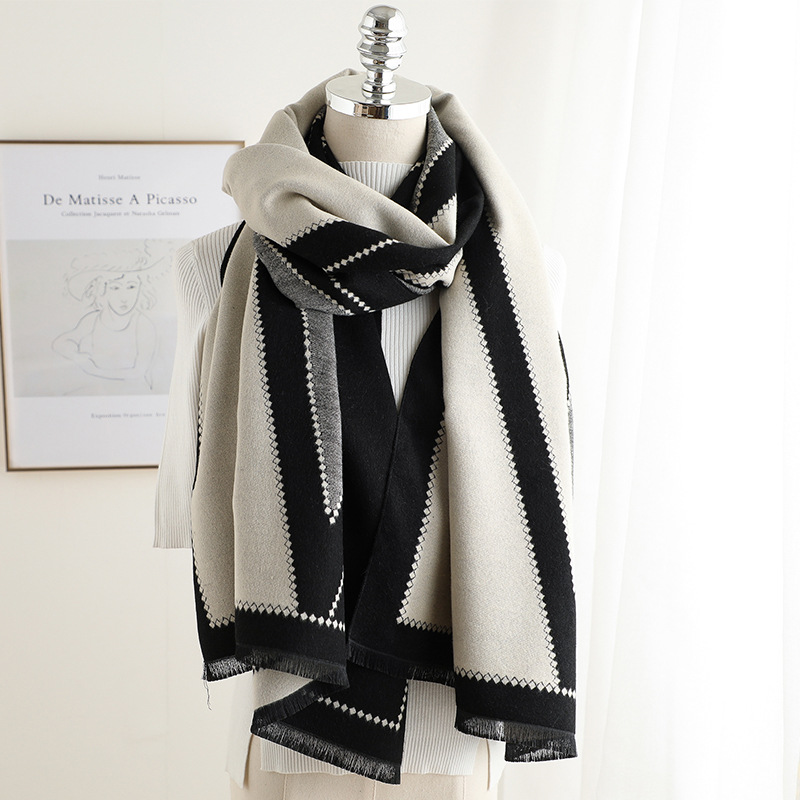 Cashmere Scarves Shawls Wraps Women High-Quality Warmer Geometric-Print Outdoor New And