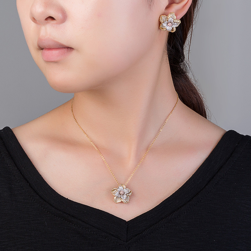 Jewelry Set Novel Flower Design For Women Elegant And Simple Style CN805 AAA+ Cubic Zirconia With High Quality Bijoux EnsembleJewelry Set Novel Flower Design For Women Elegant And Simple Style CN805 AAA+ Cubic Zirconia With High Quality Bijoux Ensemble