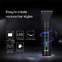 Powerful LCD Professional Hair Trimmer Electric Hair Clipper Titanium Ceramic Blade Rechargeable Razor Hair Cutting Machine