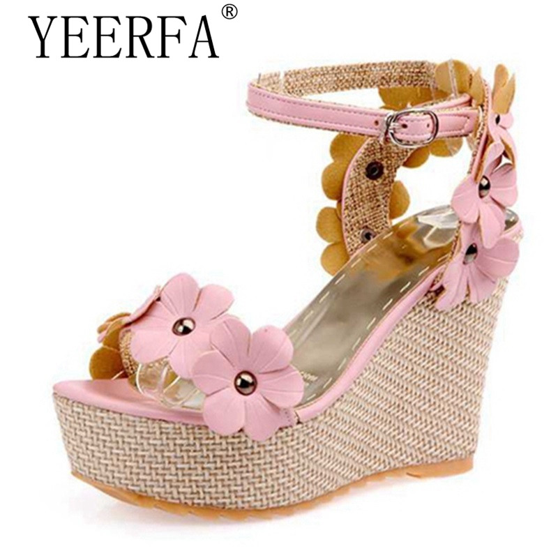 New Summer Women shoes Sandals Wedges Flower Buckle Platforms Blue Pink White Sweets Fashion Party Ladies Female SIZE 35-39