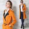 2015 outono novo estilo britânico burderry mulheres trench coat Turn-down Collar designer feminino sobretudo com cinto de longo blusão OM371