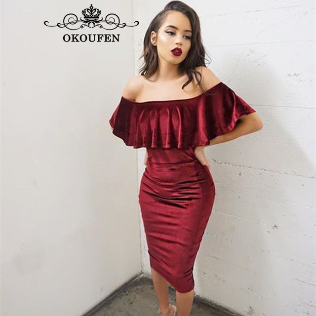 OKOUFEN Burgundy Velvet Short Bridesmaid Dresses Ruffles Off Shoulder 2018  Sheath Tea Length Sexy Prom Dress Party For Women fed0cfff5e75