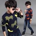 2016 Niños Suéter de la Marca Kids Animal Knit Pullover Estilo de La Moda de Invierno de Los Niños Suéteres Ropa de Los Niños Chicos Ropa Exterior