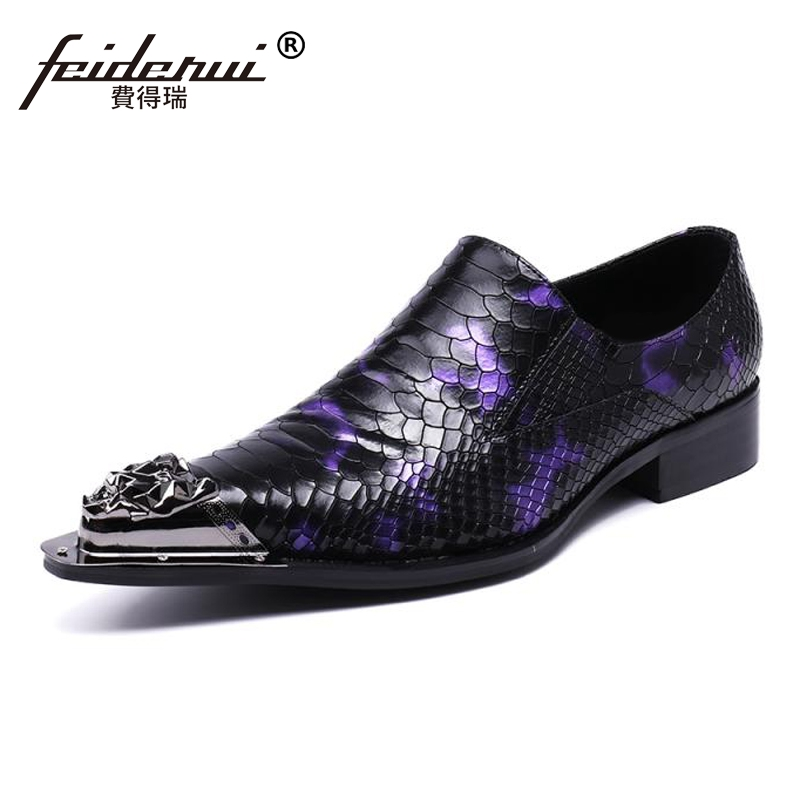 Plus Size Luxury Pointed Toe Slip on Man Alligator Formal Dress Loafers Genuine Leather Men's Wedding Party Shoes For Male SL153