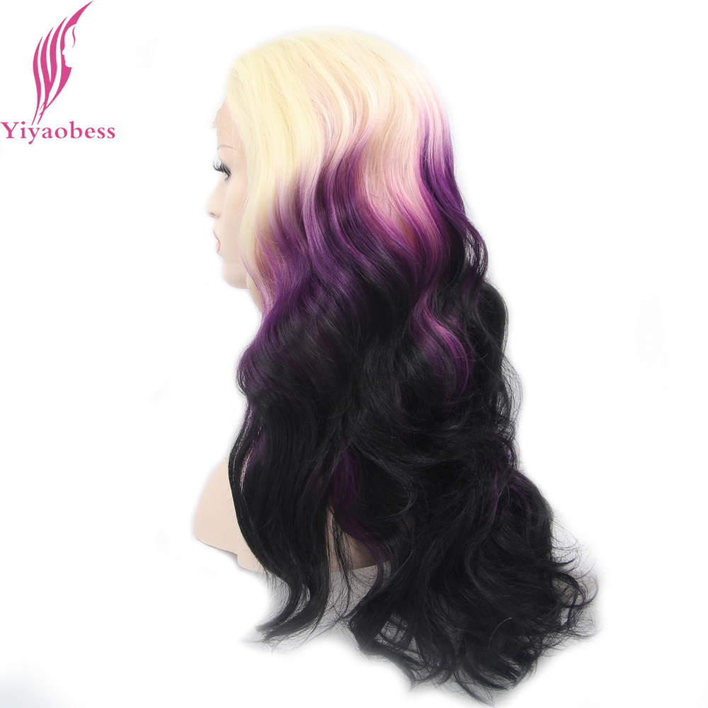 Yiyaobess Glueless Heat Resistant Synthetic Long Wavy Ombre Lace Front Wig Blonde Purple Black Colorful Wigs For Women in Synthetic None Lace Wigs from Hair Extensions Wigs