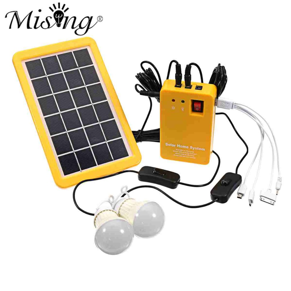 1 Set Solar Power Panel Generator LED Light Bulbs 5V USB Charger Home System Outdoor Garden Solar Lamps