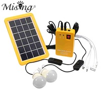 1 Set Solar Power Panel Generator LED Light Bulbs 5V USB Charger Home System Outdoor Garden