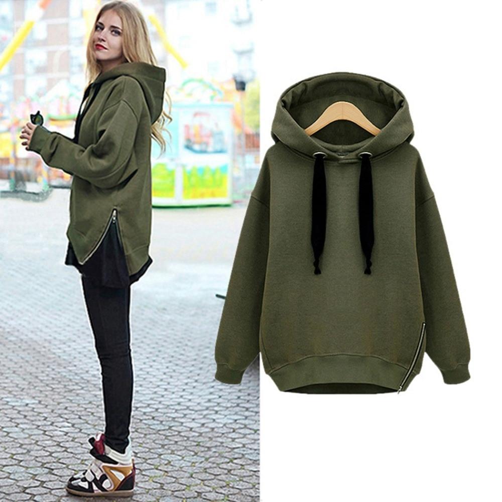 Women Hoodies Sweatershirt 2017 Fashion Side Zipper Ladies Fleece Spring Winter Long Sleeve ...