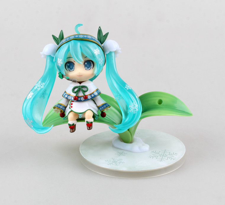Hatsune Miku Cute Nendoroid Lotus leaf Anime Collectible Action Figure PVC toys for christmas gift with retail box 1