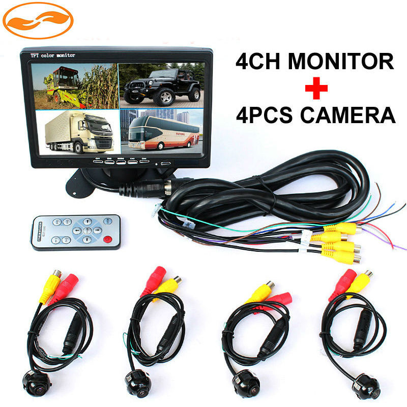 Free Shipping 7 TFT LCD Color 4CH Video input Car Video Monitor with Front Rear Side View Camera Show 4 Images 6 Modes Display