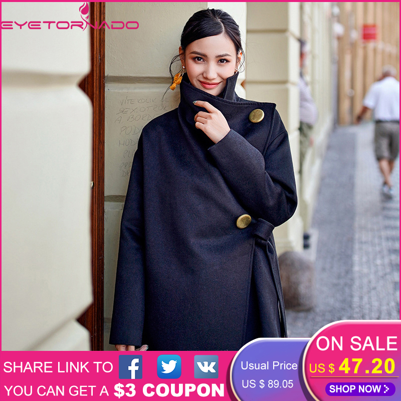 248b9a1fa1051 Detail Feedback Questions about Women fashion solid irregular button wool  coat winter casual loose lace up belted thick warm chic work cashmere  overcoat ...