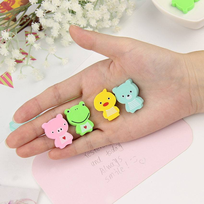 8 PCS Mini Animals Erasers For Kids Cute Duck Frog Candy Color Rubber Eraser Stationery School Supplies