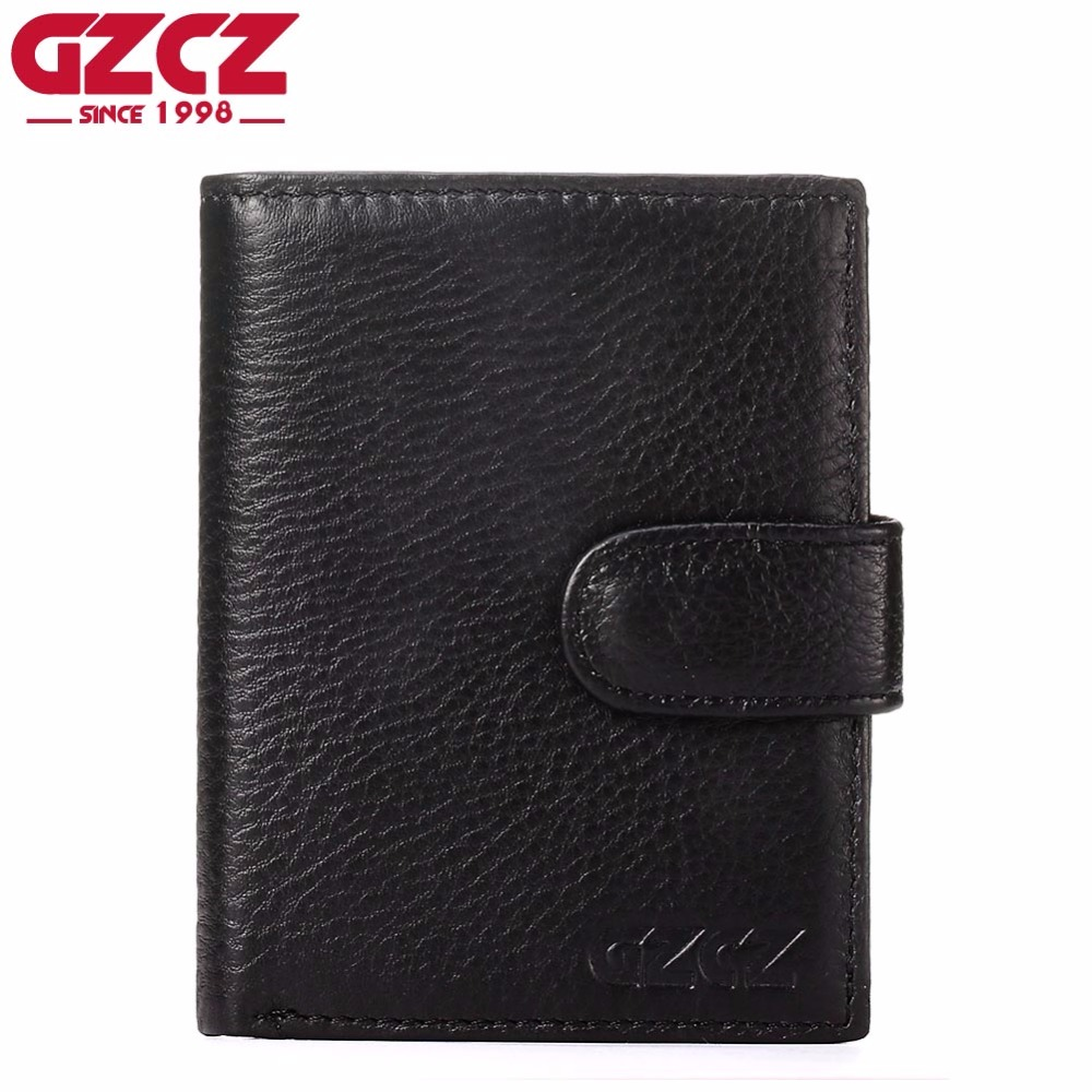 GZCZ High Quality Men Genuine Leather Wallets Male Coin Purse Small Wallet Zipper Pouch Photo Holder Portomonee Clamp For Money