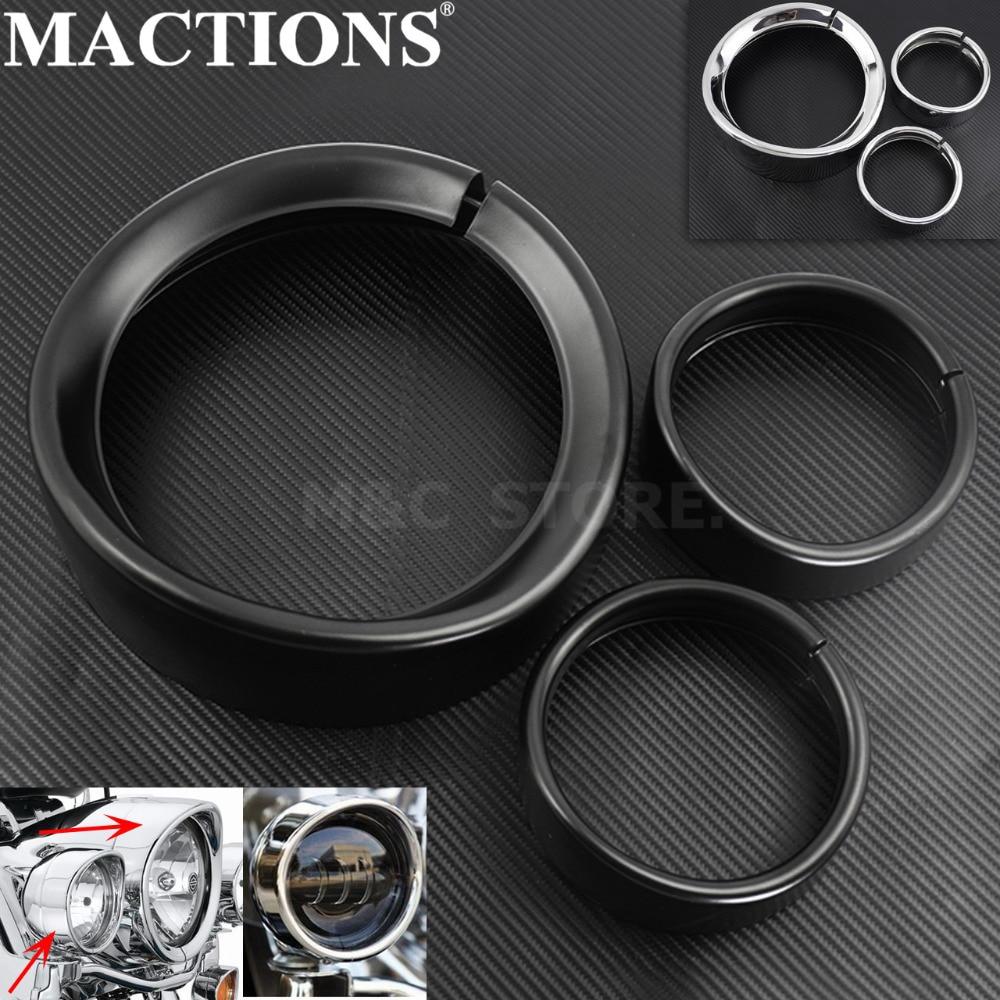 MACTIONS 7'' Visor Headlight Headlamp Trim Ring+4.5'' Fog Light Cover For Harley Touring Road King Electra Glide Softail FLD/FLH