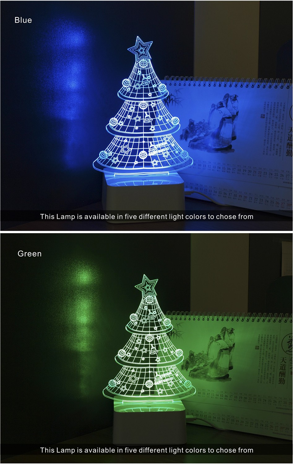 USB Night Light Star 3D led Christmas Tree Dimmable Table Lamp (4)