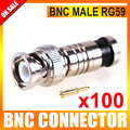 100Pcs/lot CCTV Adaptor Plug BNC Male Compression Coax RG59 Cable Connector For CCTV System