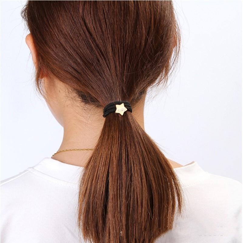 Купить с кэшбэком 10PCS/Lot New Korean Hair Accessories For Women Black Elastic Hair Rubber Bands Girls Lovely Hair Ropes Ponytail Holder Tie Gums