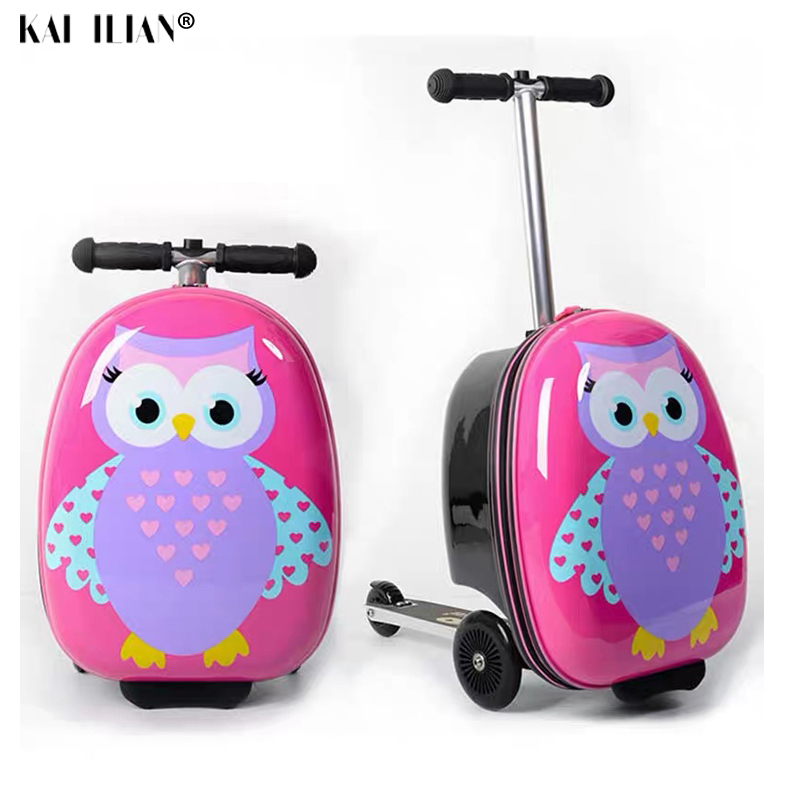 18 kids scooter rolling suitcase Lazy trolley case skateboard luggage for children's travel suitcase on wheels baby luggage
