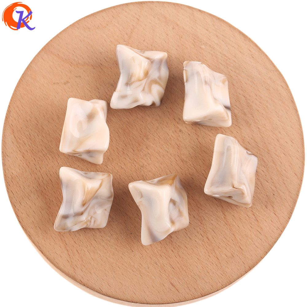 Cordial Design 15*21MM 100Pcs Jewelry Accessories/Acrylic Beads/Marble Effect/Irregular Shape/DIY/Hand Made/Earring Findings